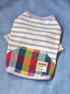 ボタニカル&カラフルポッケTシャツ*ブルー*