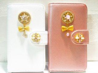 【在庫限り終了】スワロフスキーの手帳型iPhoneケース(flower&ribbon)