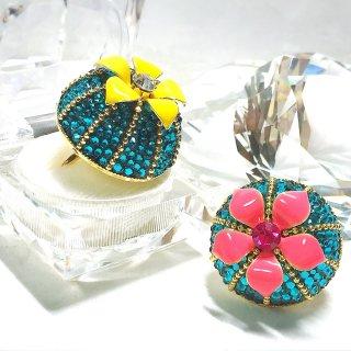 【globeライン】スワロフスキーのHalf of the globe ring〜Cactus(サボテン)design〜 (ギフト用BOX付)