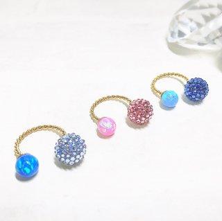 【mini globeライン】スワロフスキーglobe×京都オパールのフォークリング(ギフト用BOX付)