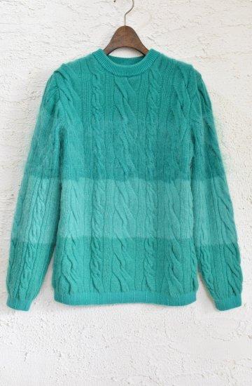 COOHEM(コーヘン) 5種類の獣毛糸をグラディエーション状にケーブル編みに編み立てた ANIMAL GRADATION SWEATER [Green] nnisexsize1(S)