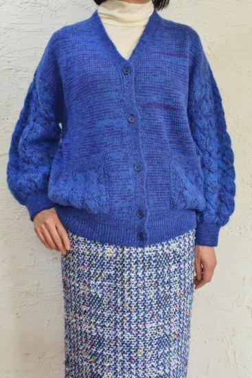COOHEM(コーヘン) 立体的なフォルムの身頃.袖が特徴 MOHAIR/WOOL CABLE KNIT CARDIGAN [Blue]