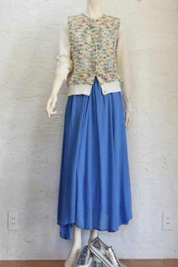 COOHEM(コーヘン) 初夏らしい色をミックスしたオリジナルファンシーツウィード編み地に 優しい風合いと華やかさのある SUMMER GARDEN TWEED CARDIGAN[WHITE]
