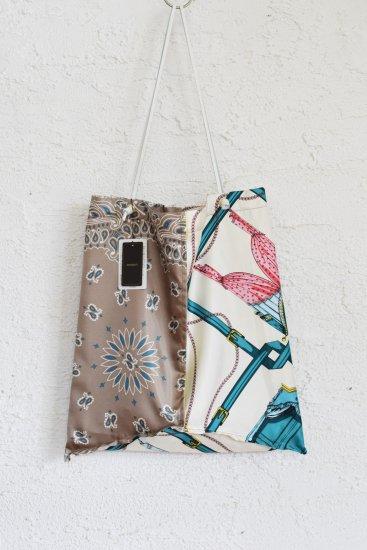 manipuri(マニプリ) ヴィンテージ感溢れる華やかでクラシカルなスカーフ柄の 革ひもBAG [Large]