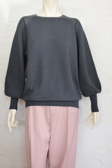 LILLY LYNQUE(リリーリーン)  透かし編みで切り替えバルーンスリーブが女性らしい 柔らかタッチの Soft Wool Knit Pullover《手洗い可》