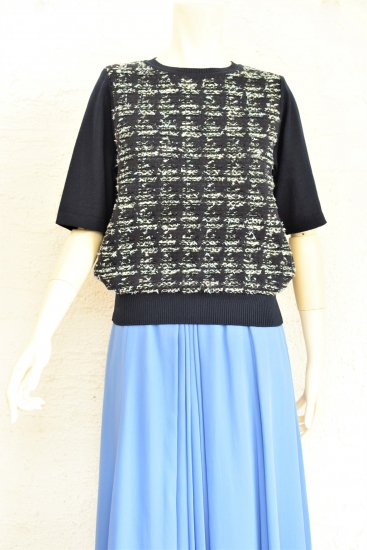 COOHEM(コーヘン) オリジナルファンシーツウィード編み地とコットン無地を組み合わせた シックで華やかさのある HOUNDSTOOTH TWEED PULLOVER[WHITE]