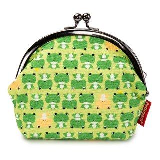 3.8寸 がま口 ポーチ GS-104G カエル Frog アップルグリーン