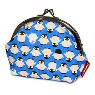 3.8寸 がま口 ポーチ GS-108V ペンギン Penguin 青紫