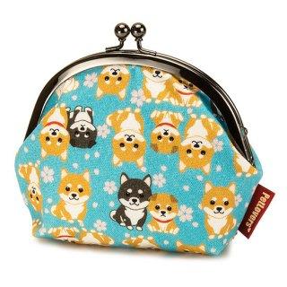 3.8寸 がま口 ポーチ GS-118B 柴犬 Shiba Dog 空色