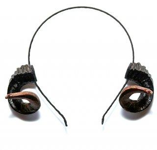 羊 ツノ カチューシャ / メリノタイプ ブラック 金箔仕上げ / NY-1005