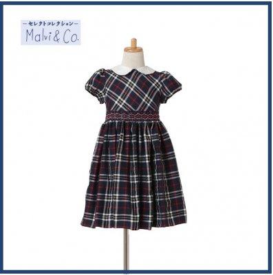 スモック刺繍ワンピース(赤×紺)