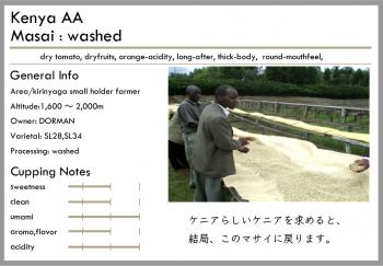 ケニア -washed-<br>浅煎り/深煎り<br>マサイAA(100g)<br> <br>ドライトマト・ティ<br> <br>重い・強い・キレがある