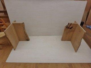 栗材のカウンター・デスク天板用脚台