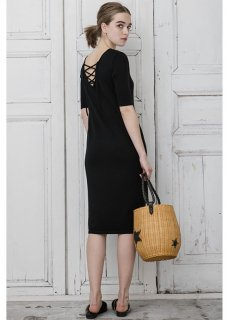 KNIT 2WAY LACEUP DRESS