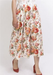 LACE BELT FLOWER PRINT SKIRT