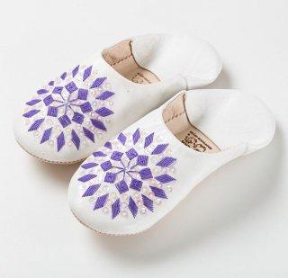 ポップキャンディホワイトバブーシュ(紫)