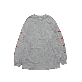 W-BASE WORLD LOGO LONG SLEEVE TEE GREY