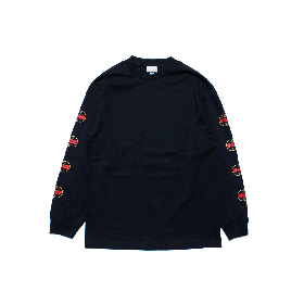 W-BASE WORLD LOGO LONG SLEEVE TEE NAVY