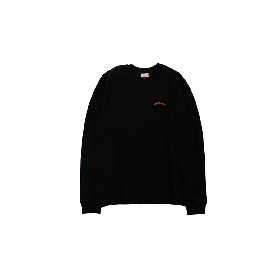 W-BASE SMALL LIGHTNING LOGO CREW NECK BLACK