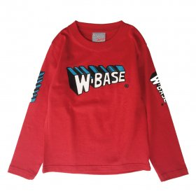 W-BASE WMAN LOGO KIDS LONG SLEEVE TEE RED