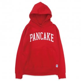 PANCAKE - ARCH LOGO PULL OVER HOODIE - RED