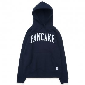 PANCAKE - ARCH LOGO PULL OVER HOODIE - NAVY