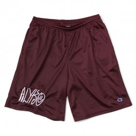 Act Like You Know - Self Portrait Embroidered Champion(TM) Mesh Short - Burgundy