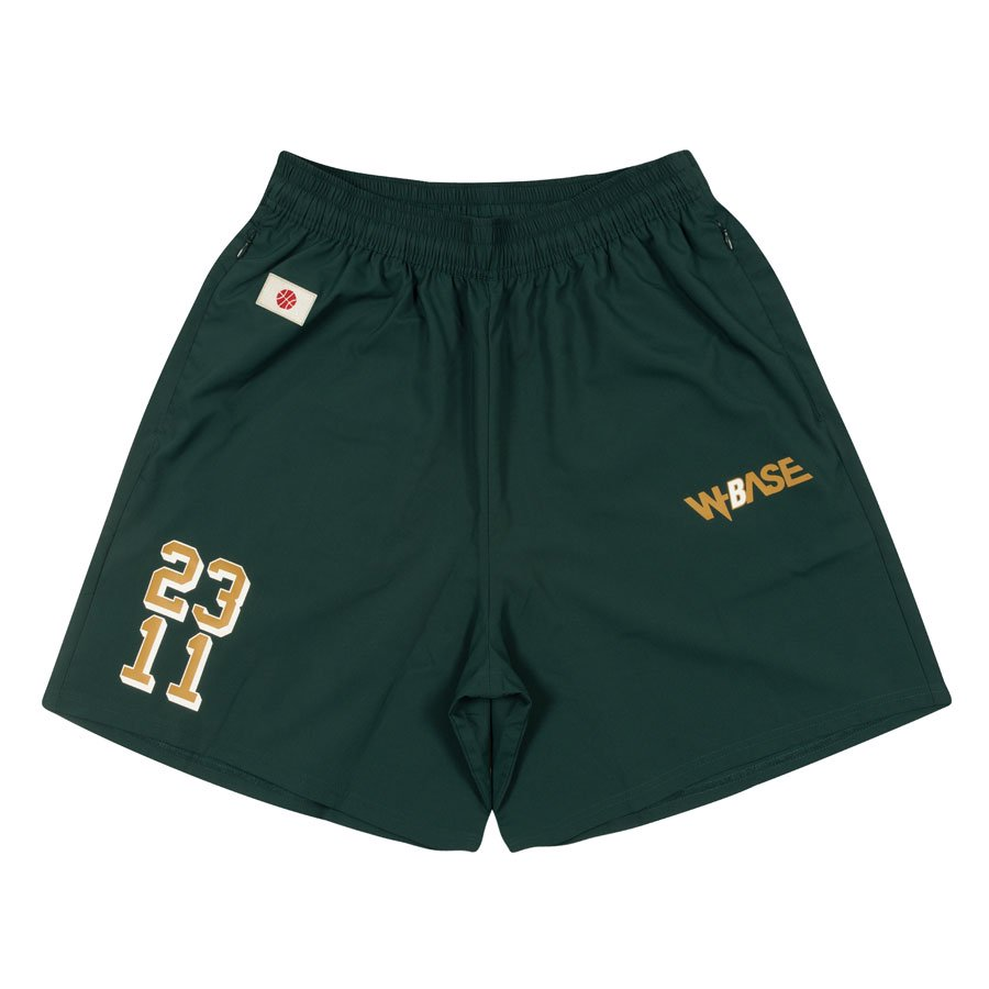 W-BASE x ballaholic - Zip Shorts - DARK GREEN