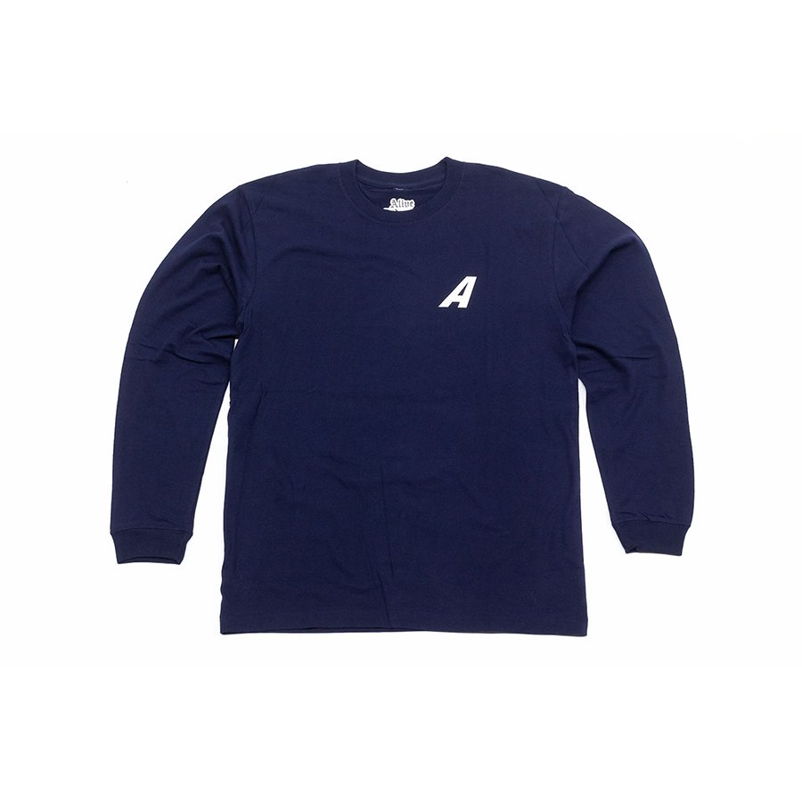 <img class='new_mark_img1' src='https://img.shop-pro.jp/img/new/icons5.gif' style='border:none;display:inline;margin:0px;padding:0px;width:auto;' />*ALIVE INDUSTRY - A LOGO LONG SLEEVE - NAVY