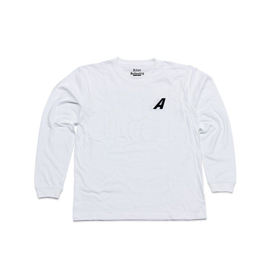 <img class='new_mark_img1' src='https://img.shop-pro.jp/img/new/icons5.gif' style='border:none;display:inline;margin:0px;padding:0px;width:auto;' />*ALIVE INDUSTRY - A LOGO LONG SLEEVE - WHITE