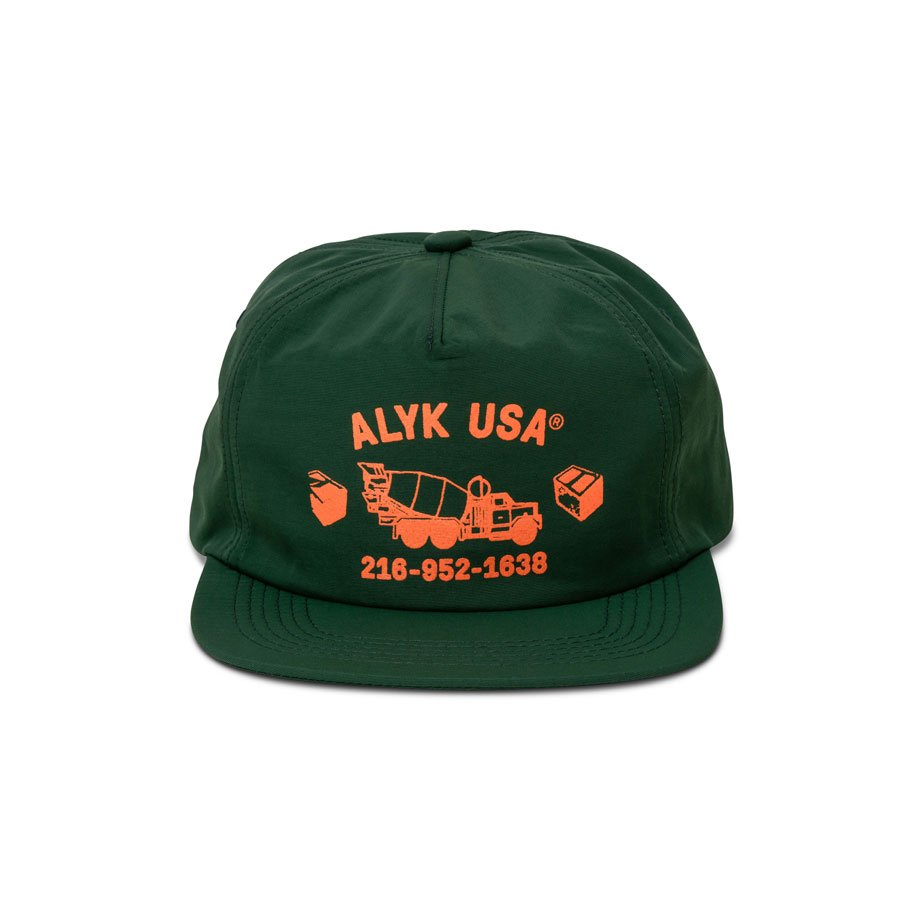 ALYK – Brick by Brick 5 Panel Nylon Hat – Forest Green/Orange