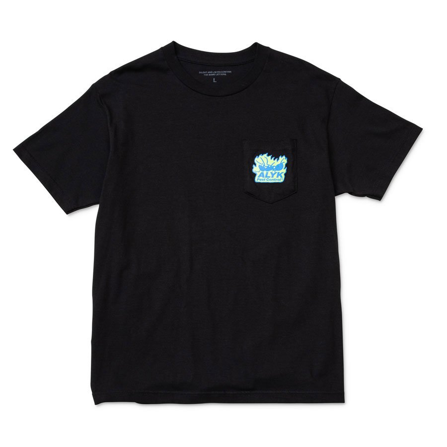ALYK – Pest Control Screen Printed Pocket T-Shirt/Black