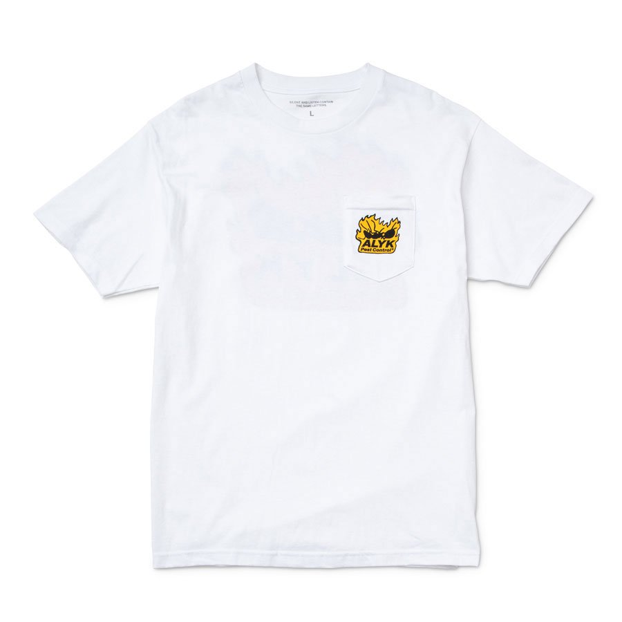 ALYK – Pest Control Screen Printed Pocket T-Shirt/White