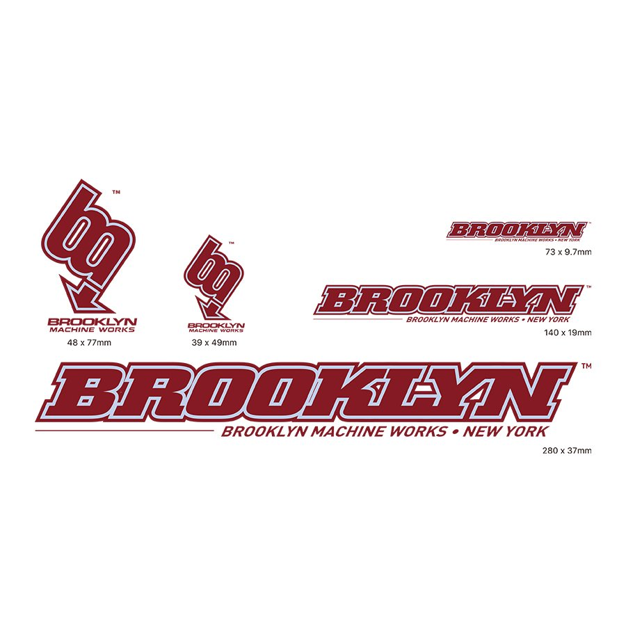 BROOKLYN MACHINE WORKS - STICKER SET - BURGUNDY / GRY