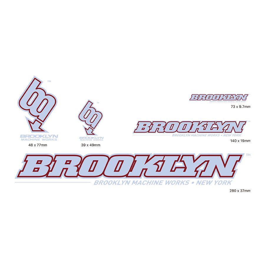 BROOKLYN MACHINE WORKS -  STICKER SET - GRY / BURGUNDY