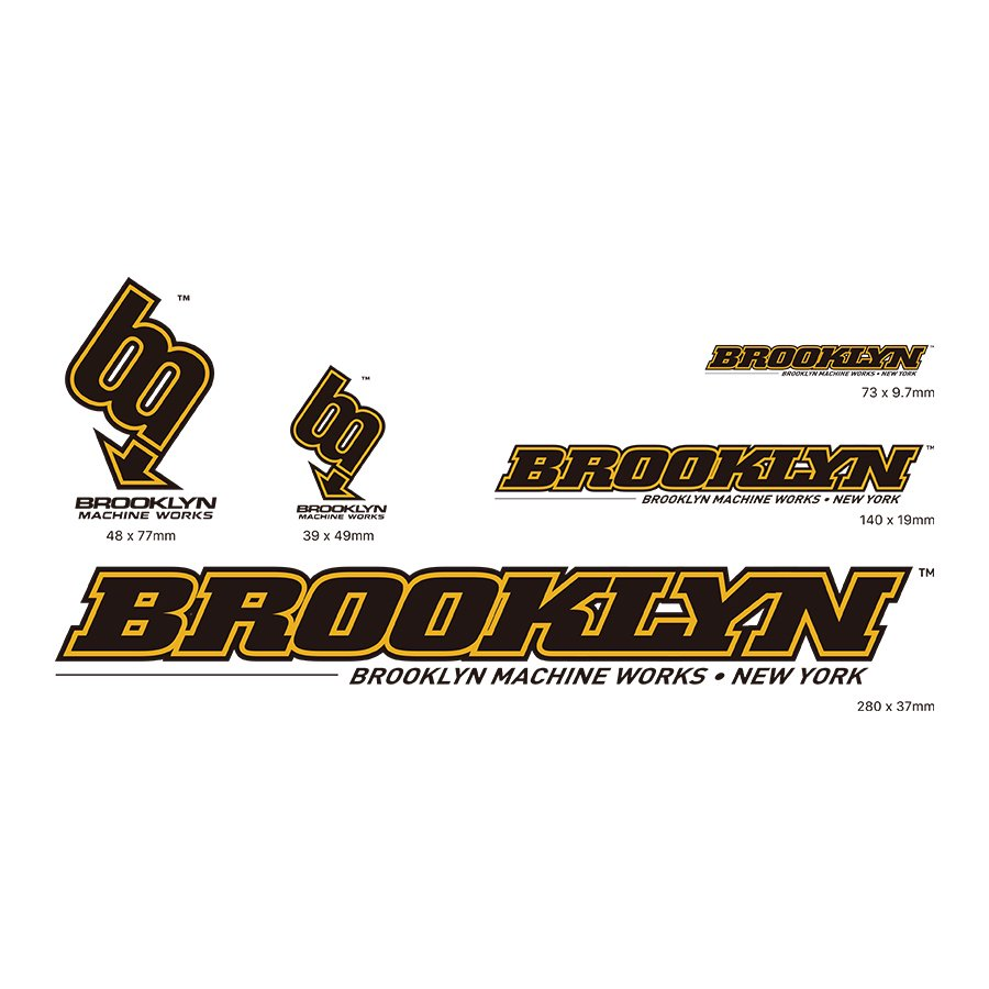 BROOKLYN MACHINE WORKS -  STICKER SET - BLACK  / YELLOW