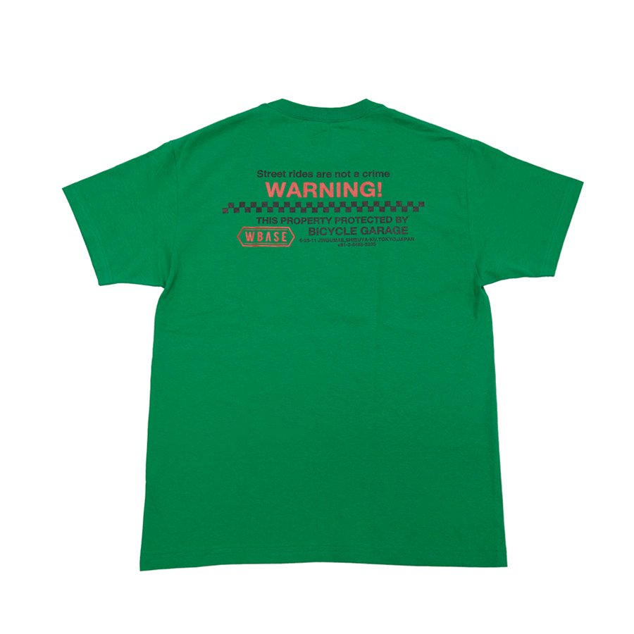 <img class='new_mark_img1' src='https://img.shop-pro.jp/img/new/icons1.gif' style='border:none;display:inline;margin:0px;padding:0px;width:auto;' />W-BASE - WARNING TEE - GREEN / RED