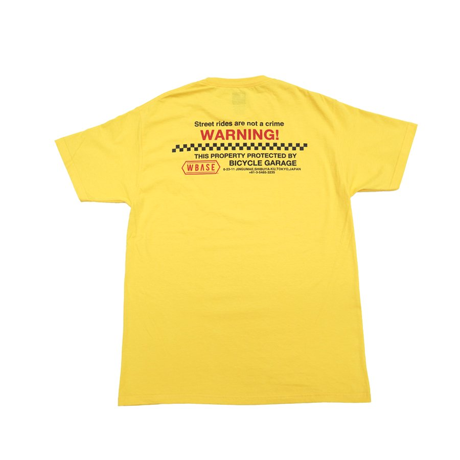 <img class='new_mark_img1' src='https://img.shop-pro.jp/img/new/icons1.gif' style='border:none;display:inline;margin:0px;padding:0px;width:auto;' />W-BASE - WARNING TEE - YELLOW / RED