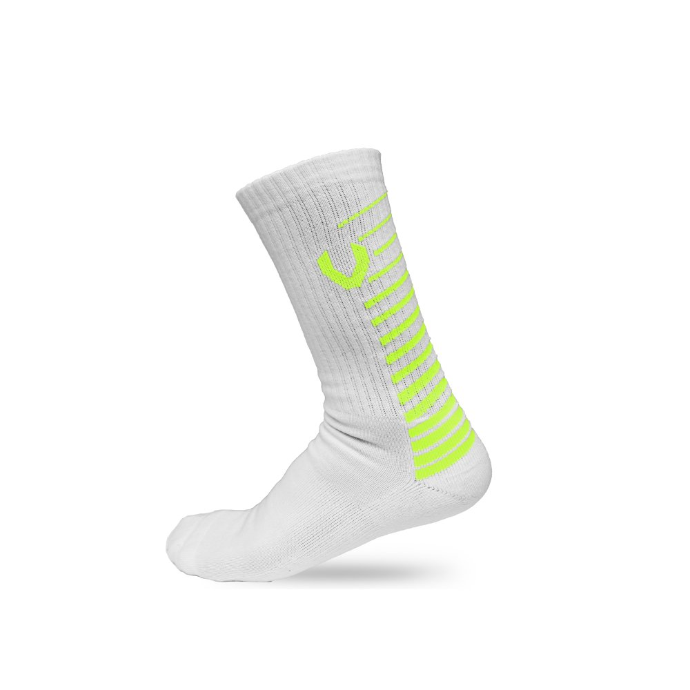 LACROSSE SOCKS WHITE/NEON YELLOW