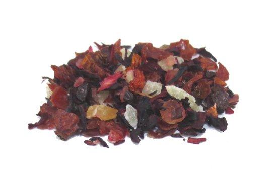 ローズヒップとハイビスカスをベースにフレッシュな桃の香りを加えたハーブティーです。フルーティーでさっぱりとした飲み口のハーブティーです。