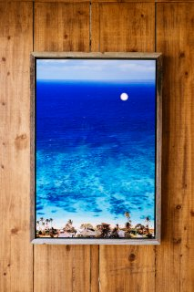 Aloha from Lanikai 16 x 24 Metal Glass Print & Barn Wood Float Frame