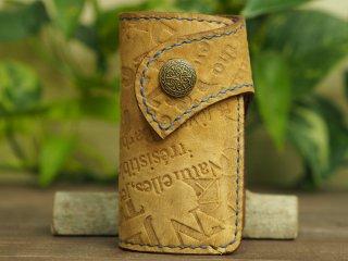 手縫いステッチの本革キーケース 014