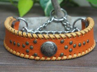 濃いオレンジのしぼ有り革にキャメルの革かがり【プレーン】