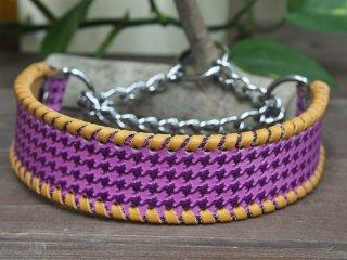 千鳥格子チェックのシンプルな首輪(紫)