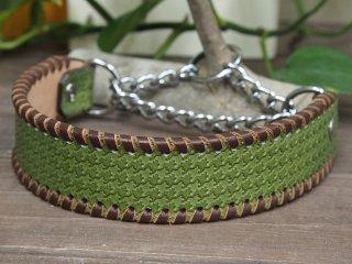 千鳥格子チェックのシンプルな首輪(緑)