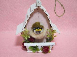 これは可愛い!!羊毛フェルト 巣から顔を出してる雀の雛 プレゼント ゆこりん工房