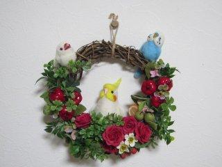 羊毛フェルト 小鳥達の華麗なリース 薔薇苺 ゆこりん工房