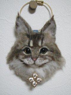 羊毛フェルト猫 リアル可愛い!メインクーン猫バッグチャームブローチ 豪華 ゆこりん工房