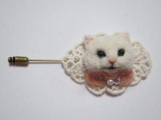 羊毛フェルト 可愛い白猫のハットピン 秋冬 ゆこりん工房
