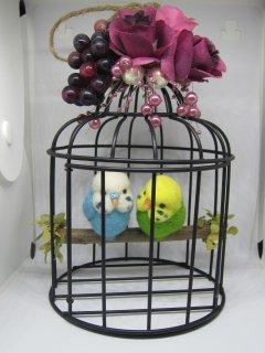 新作 羊毛フェルト 可愛いセキセイインコ達の止まり木鳥籠オブジェ 鳥 ゆこりん工房